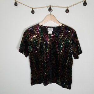 Vintage 90's Kathie Lee Rainbow Sequin Dot Shirt M